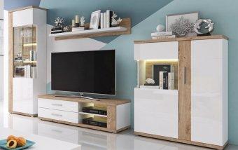 Obývací stěna MONOR bílá/bílý lesk - dub Ribbec