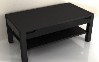 VÝPRODEJ: Moderní konferenční stolek ALASKA černá/černý lesk