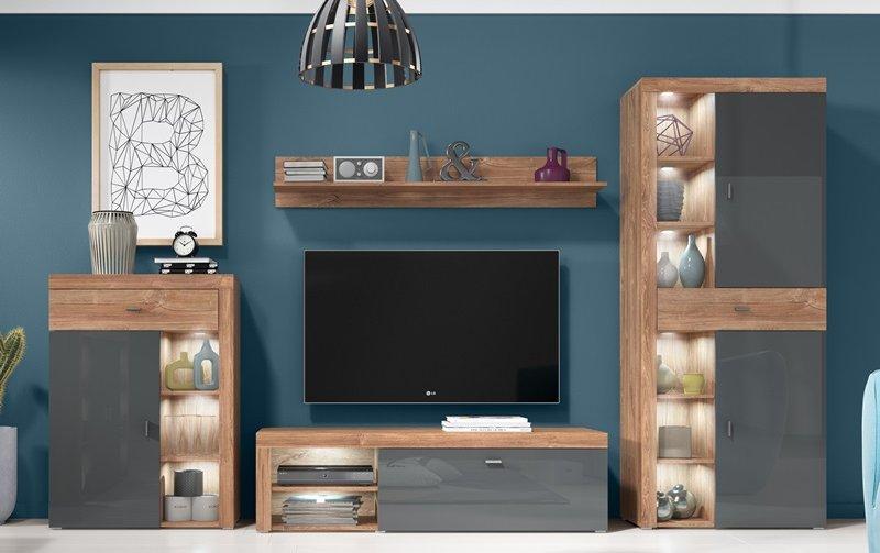 Moderní obývací stěna CAEN dub Stirling/antracyt