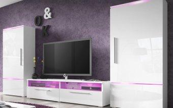 VÝPRODEJ: Obývací stěna AMBER bílá/bílý lesk