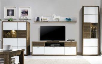 Stěna do obývacího pokoje ASPEN 1 - dub páleny/bílé sklo