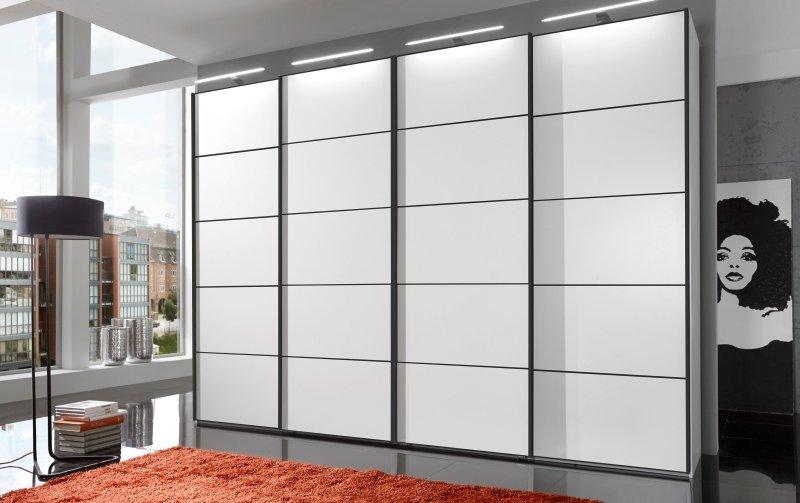 Šatní skříň s posuvnými dveřmi WESTSIDE alpská bílá/černá