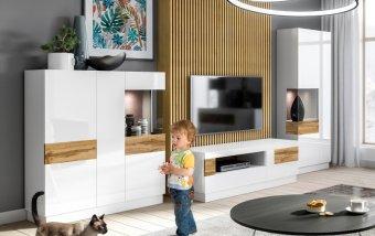 Nábytek do obývacího pokoje SILKE IV bílá/bílý lesk - dub wotan