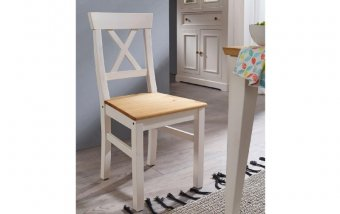 Židle z masivu CORRENS borovice bílá