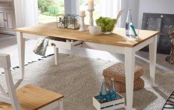 Jídelní stůl z masivu CORRENS borovice bílá/medová