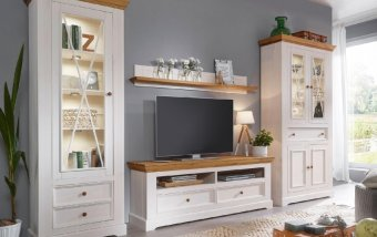 Nábytek do obývacího pokoje z masivu CORRENS 2 borovice bílá