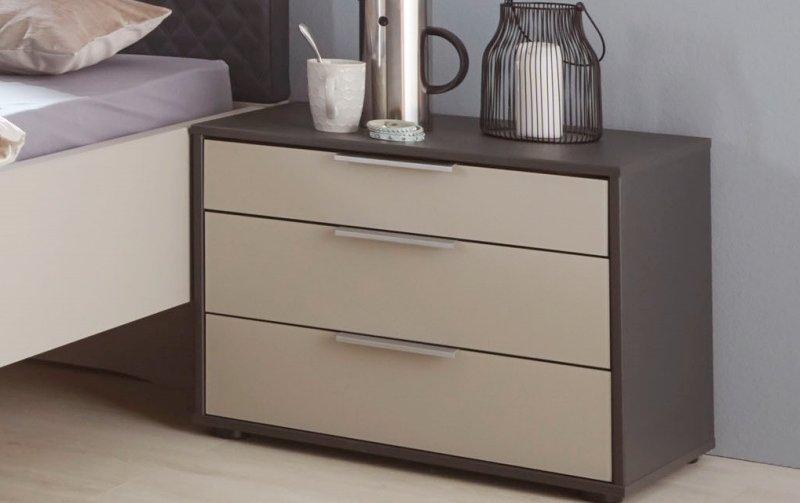 Noční stolek GLASGOW grafit / sklo šedý mat