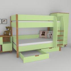 Patrová postel do dětského pokoje s úložným prostorem 200x90 buk masiv/zelená
