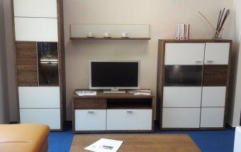 VÝPRODEJ: Obývací stěna s konferenčním stolkem ASPEN dub pálený/bílé sklo