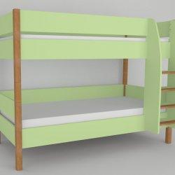 Patrová postel do dětského pokoje 200x90 buk masiv/zelená