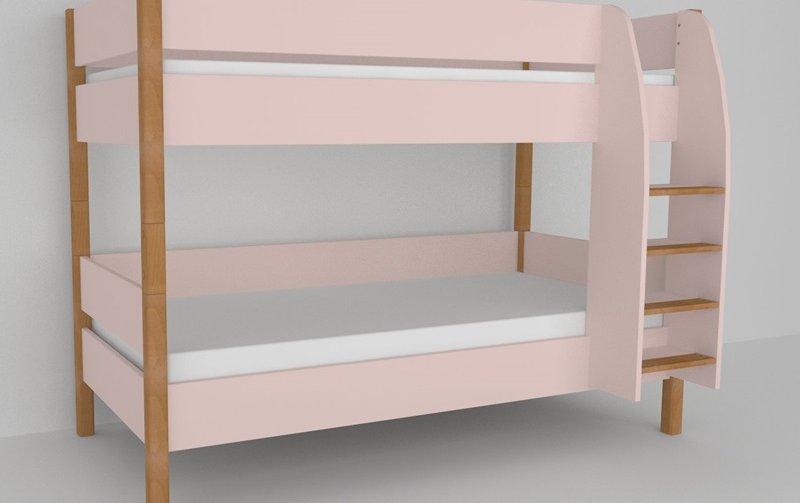 Patrová postel do dětského pokoje 200x90 buk masiv/růžová
