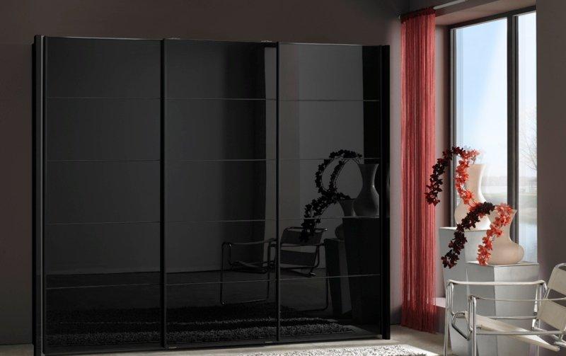 Černá šatní skříň se skleněnými dveřmi WESTSIDE