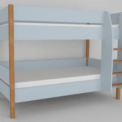 Patrová postel do dětského pokoje 200x90 buk masiv/modrá