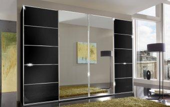 Šatní skříň se skleněnými dveřmi WESTSIDE II černá/chrom