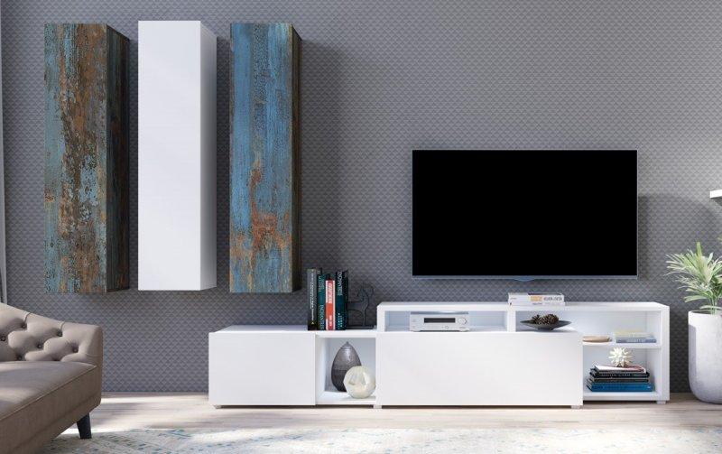 Moderní obývací stěna VENTO (typ 10) bílý mat/dekor Canyon