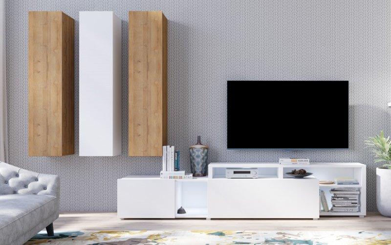 Moderní obývací stěna VENTO (typ 10) bílý mat/dub Grandson