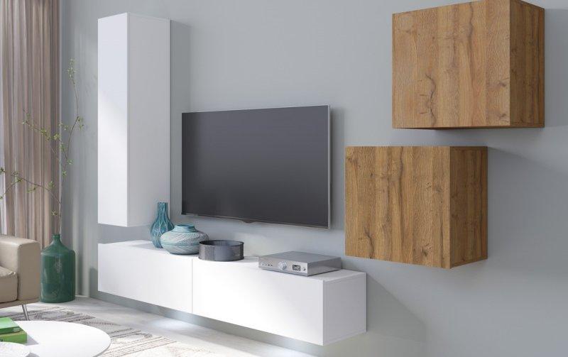 Moderní obývací stěna VENTO (typ 11) bílý mat/dub Grandson
