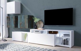 Moderní obývací stěna VENTO (typ 09) bílý mat/dekor Canyon