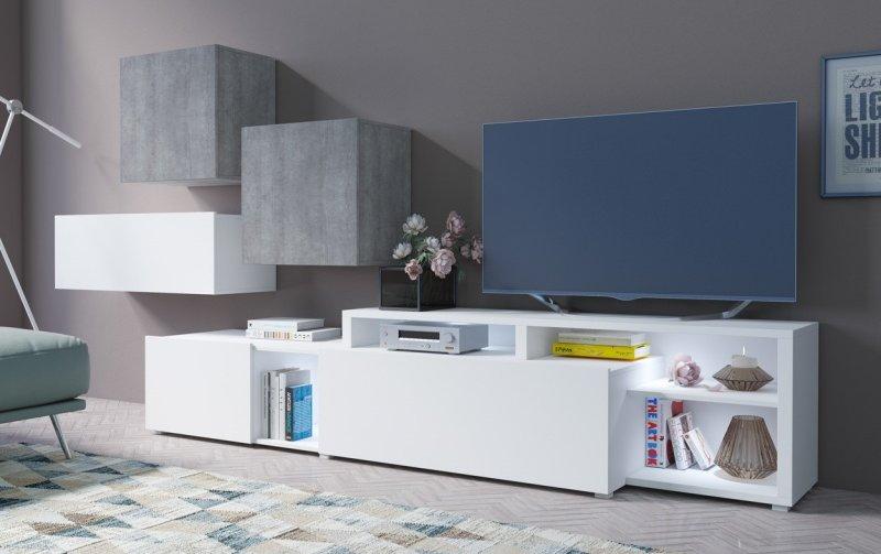 Moderní obývací stěna VENTO (typ 12) bílý mat/beton colorado