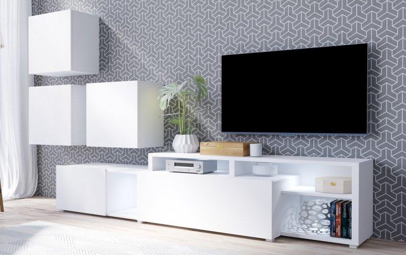Moderní obývací stěna VENTO (typ 09) bílý mat