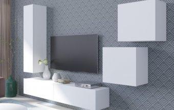 Moderní obývací stěna VENTO (typ 11) bílý mat