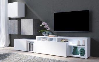 Moderní obývací stěna VENTO (typ 09) bílý mat/beton colorado