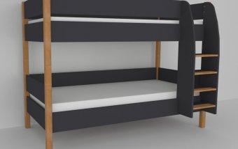 Patrová postel do dětského pokoje 200x90 buk masiv/černá
