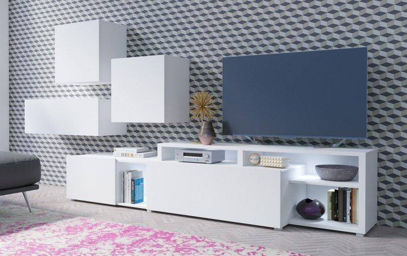 Moderní obývací stěna VENTO (typ 12) bílý mat