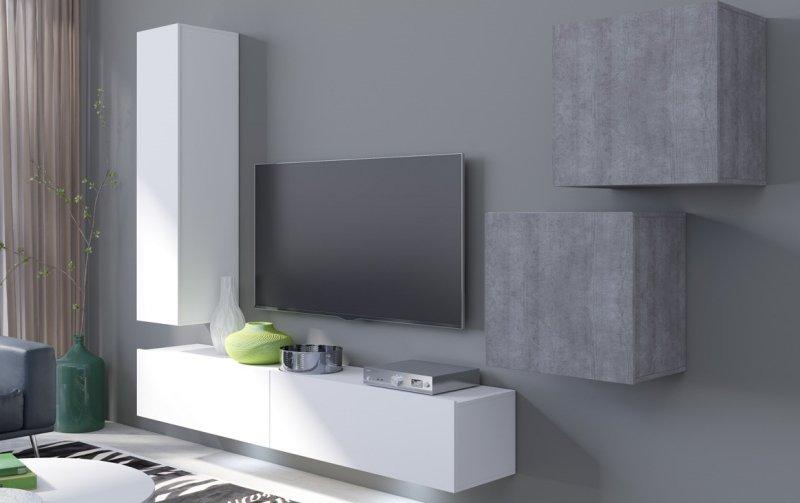 Moderní obývací stěna VENTO (typ 11) bílý mat/beton colorado