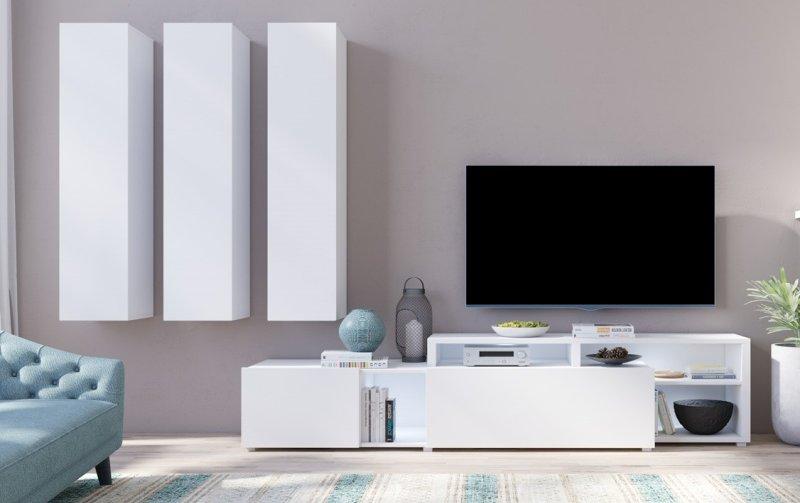 Moderní obývací stěna VENTO (typ 10) bílý mat