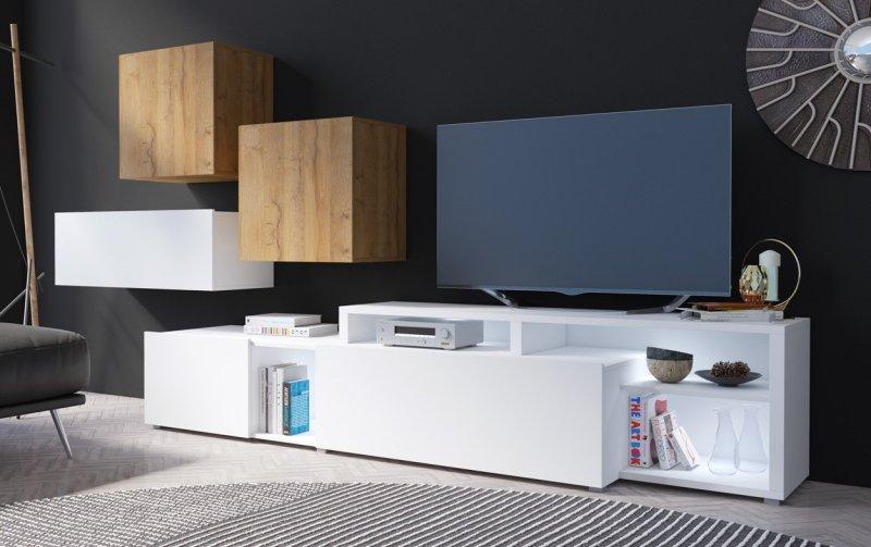 Moderní obývací stěna VENTO (typ 12) bílý mat/dub Grandson