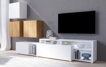 Moderní obývací stěna VENTO (typ 09) bílý mat/dub Grandson