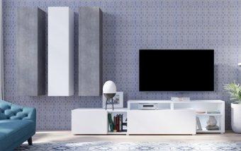 Moderní obývací stěna VENTO (typ 10) bílý mat/beton colorado
