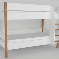 Patrová postel do dětského pokoje 200x90 buk masiv/bílá