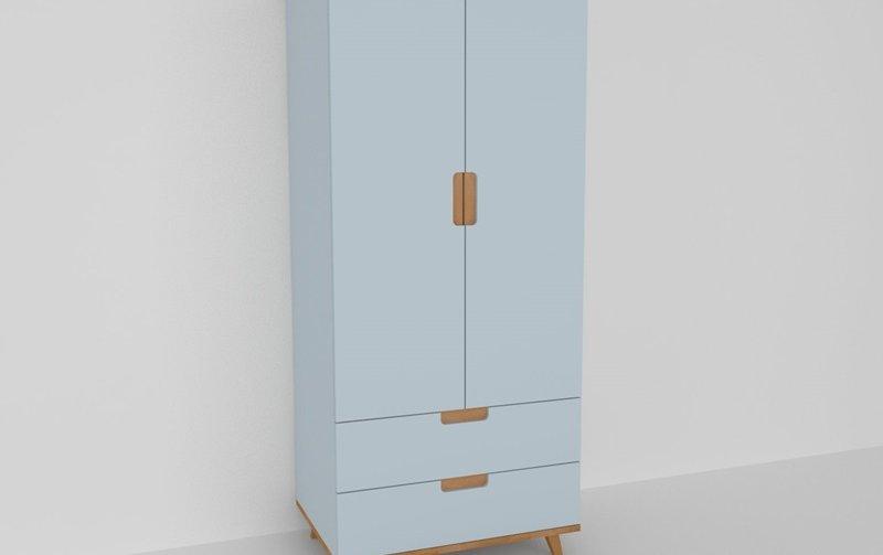 Šatní skříň do dětského pokoje buk masiv/modrá