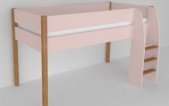 Vyvýšená postel do dětského pokoje 200x90 buk masiv/rúžová