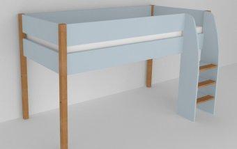 Vyvýšená postel do dětského pokoje 200x90 buk masiv/modrá