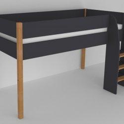 Vyvýšená postel do dětského pokoje 200x90 buk masiv/černá