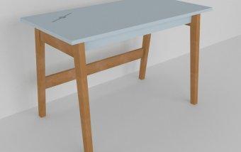 Psací stůl do dětského pokoje buk masiv/modrá