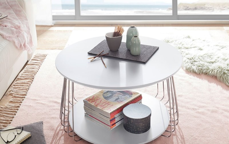 Bílý konferenční stolek z lamina VILNIUS II