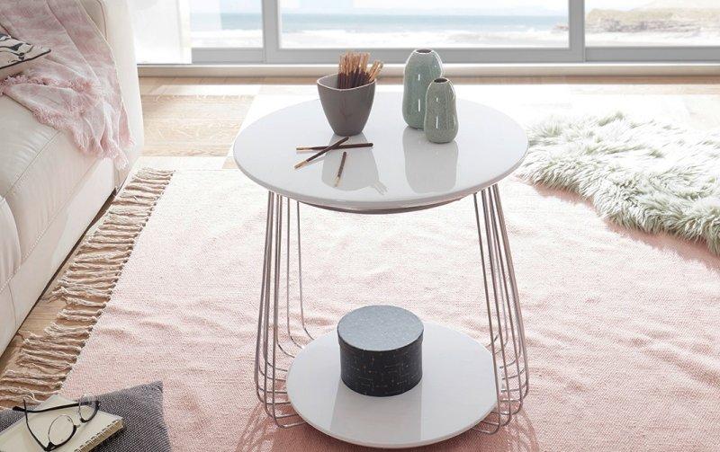 Bílý konferenční stolek z lamina VILNIUS