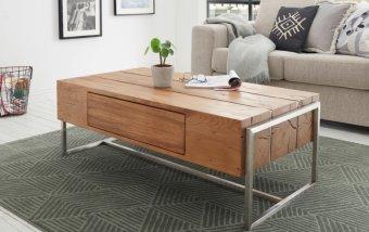 Konferenční stolek DANANG dub sukatý/leštěná ocel