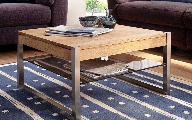 Čtvercový konferenční stolek z masivu MIGEL dub přírodní/leštěná ocel