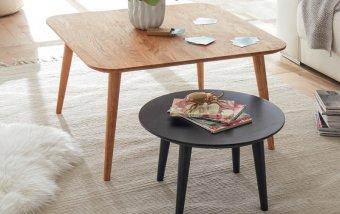 Sada dvou konferenčních stolků ve skandinávském stylu ALETA QR dub masiv/lak antracit