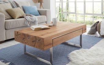 Konferenční stolek BIRMINGHAM dub sukatý/leštěná ocel