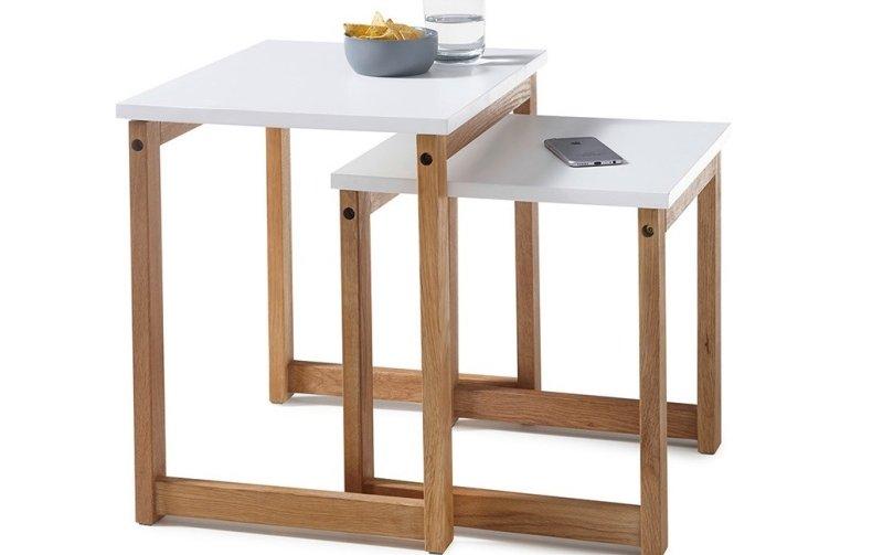 Sada dvou konferenčních stolků ve skandinávském stylu RIVERSIDE dub přírodní/bílá