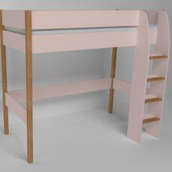 Vyvýšená postel do dětského pokoje 200x90 buk masiv/růžová