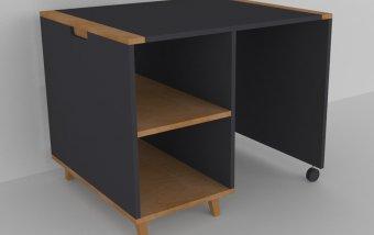 Psací stůl do dětského pokoje buk masiv/černá
