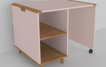 Psací stůl do dětského pokoje buk masiv/růžová