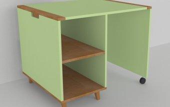 Psací stůl do dětského pokoje buk masiv/zelená